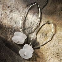 Foam White Beach Glass Earrings | Sea Glass Jewellery